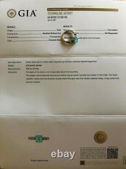 18k Gold 2.47 Ct. Gia Certified Neon Blue Paraiba Tourmaline Diamond Ring