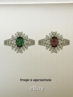18k Gold 2.50 Ct Gia Certified Blue Green To Purple Alexandrite Diamond Ring