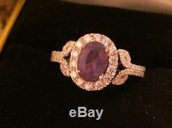 18k Gold 2.98 Ct Gia Certified Bluish Green To Purple Alexandrite Diamond Ring