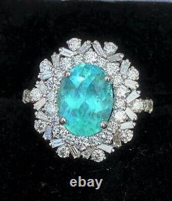 18k Gold 3.58 Ct. Agl Certified Gia Brazilian Paraiba Tourmaline Diamond Ring