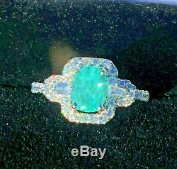 18k Gold 3.67 Ct. Certified Gia Super Neon Paraiba Tourmaline Diamond Ring