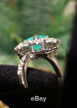 18k Gold 3.68 Agl Certified Gia Neon Brazilian Paraiba Tourmaline Diamond Ring