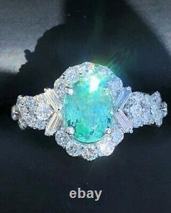 18k Gold 3.80 Ct Gia Certified Blue Green Paraiba Tourmaline Diamond Ring