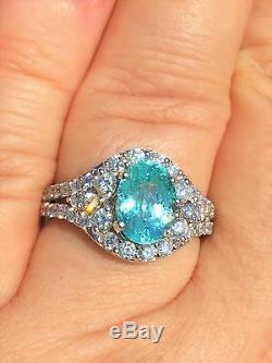 18k Gold 3.88 Ct. Gia Certified Neon Blue Paraiba Tourmaline Diamond Ring