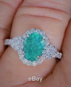 18k Gold 4.00 Ct. Certified Gia Super Neon Paraiba Tourmaline Diamond Ring
