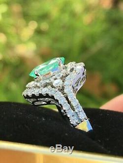 18k Gold 4.18 Ct. Gia Certified Super Neon Blue Paraiba Tourmaline Diamond Ring