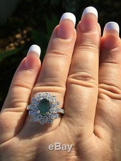18k Gold 4.24 Ct Gia Certified Bluish Green To Purple Alexandrite Diamond Ring