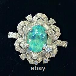 18k Gold 4.52 Ct Gia Certified Neon Blue Green Paraiba Tourmaline Diamond Ring