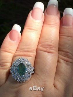 18k Gold 4.63 Ct Gia Certified Bluish Green To Purple Alexandrite Diamond Ring
