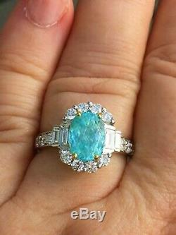 18k Gold 4.70 Ct Certified Gia Neon Green Blue Paraiba Tourmaline Diamond Ring