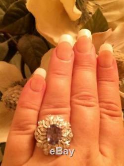 18k Gold 4.87 Ct Gia Certified Blue Green To Purple Alexandrite Diamond Ring