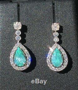 18k Gold 5.24 Ct. Certified Gia Blue Green Paraiba Tourmaline Diamond Earrings