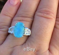 18k Gold 5.60 Ct Certified Gia Super Neon Blue Paraiba Tourmaline Diamond Ring