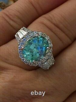 18k Gold 5.63 Ct Certified Gia Neon Green Blue Paraiba Tourmaline Diamond Ring