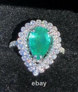 18k Gold 5.66 Ct. Certified Gia VIVID Neon Paraiba Tourmaline Diamond Ring