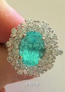18k Gold 5.68 Ct. Gia Certified Aaa+ Neon Blue Paraiba Tourmaline Diamond Ring