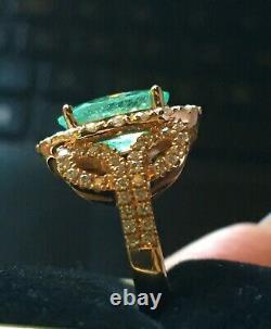 18k Gold 5.72 Ct Certified Gia Neon Paraiba Tourmaline Diamond Ring