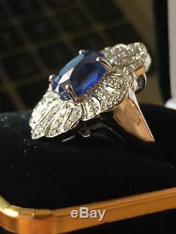 18k Gold 5.80 Ct Gia Certified No Heat Unheated Royal Blue Sapphire Diamond Ring