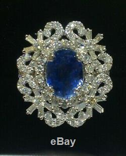 18k Gold 5.85 Ct. Gia Certified No 1 Heat Aaa+ Royal Blue Sapphire Diamond Ring