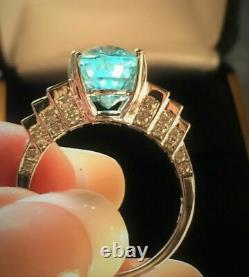 18k Gold 5.92 Ct Certified Gia Neon Green Blue Paraiba Tourmaline Diamond Ring
