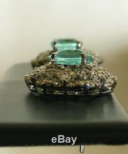 18k Gold 6.16 Ct. Gia Certified Neon Blue Paraiba Tourmaline Diamond Earrings