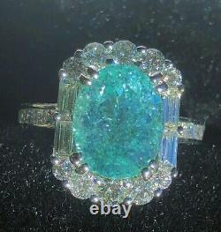 18k Gold 6.18 Ct Certified Gia Agl Green Blue Paraiba Tourmaline Diamond Ring