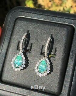 18k Gold 6.23 Ct. Gia Certified Blue Green Paraiba Tourmaline Diamond Earrings