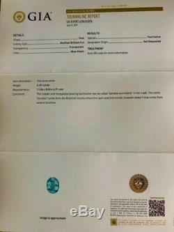 18k Gold 6.26 Ct Gia Certified Neon Blue Green Paraiba Tourmaline Diamond Ring