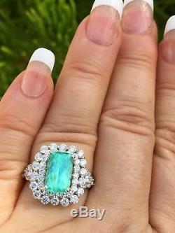 18k Gold 6.27 Ct. Gia Certified Neon Blue Paraiba Tourmaline Diamond Ring