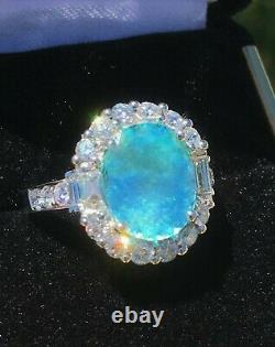 18k Gold 6.35 Ct. Agl Certified Aaa+ Gia Neon Paraiba Tourmaline Diamond Ring