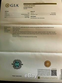 18k Gold 6.36 Ct. Gia Certified Green Blue Paraiba Tourmaline Diamond Ring