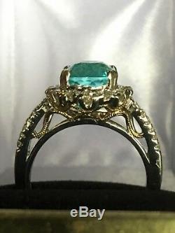 18k Gold 6.44 Ct. Gia Certified Unheated Blue Paraiba Tourmaline Diamond Ring