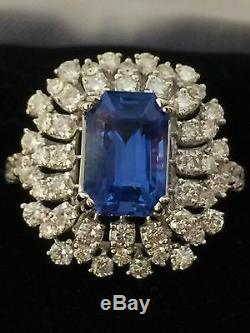 18k Gold 6.45 Ct Gia Certified No Heat Unheated Royal Blue Sapphire Diamond Ring