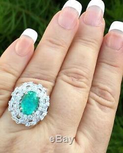 18k Gold 6.75 Ct Gia Certified Aaa+ Neon VIVID Paraiba Tourmaline Diamond Ring