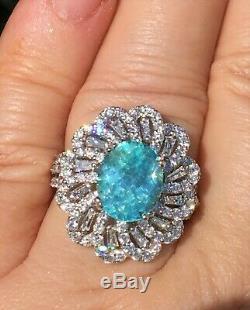 18k Gold 7.02 Ct Certified Gia Super Neon Blue Paraiba Tourmaline Diamond Ring