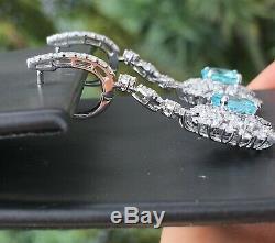 18k Gold 7.22 Ct. Certified Gia Neon Blue Paraiba Tourmaline Diamond Earrings