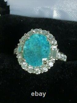 18k Gold 7.34 Ct. Agl Certified Aaa+ Gia Neon Paraiba Tourmaline Diamond Ring