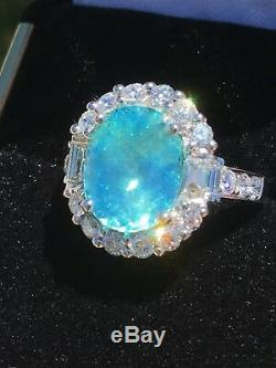 18k Gold 7.40 Ct Gia Certified Neon Green Blue Paraiba Tourmaline Diamond Ring