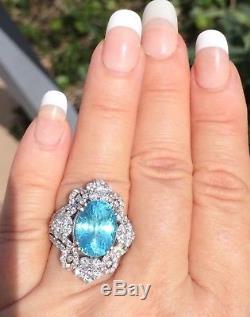 18k Gold 7.49 Ct. Gia Certified Unheated Blue Paraiba Tourmaline Diamond Ring