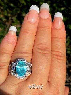 18k Gold 7.58 Ct. Gia Certified Aaa+ Neon Blue Paraiba Tourmaline Diamond Ring