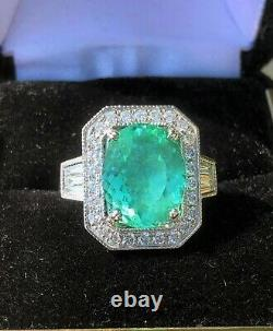 18k Gold 7.59 Ct. Certified Gia Super Neon Paraiba Tourmaline Diamond Ring