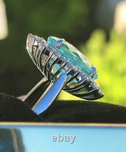 18k Gold 8.09 Ct. Gia Certified Aaa+ Neon Blue Paraiba Tourmaline Diamond Ring