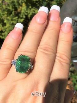 18k Gold 8.27 Ct Gia Certified Unheated Neon Paraiba Tourmaline Diamond Ring