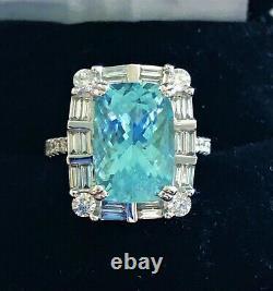 18k Gold 8.63 Ct Gia Certified Large Neon Blue Paraiba Tourmaline Diamond Ring