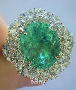 18k Gold 9.08 Ct. Certified Gia Aaa+ Neon Paraiba Tourmaline Diamond Ring