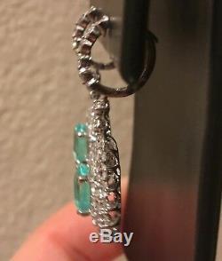 18k Gold 9.24 Ct. Certified Gia Green Blue Paraiba Tourmaline Diamond Earrings