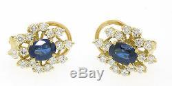 18k Gold EGL Certified Royal Blue Sapphire and VVS E Diamond Omega Earrings
