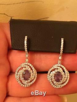 18k Gold Gia Certified 7.21 Ct Blue Green To Purple Alexandrite Diamond Earrings