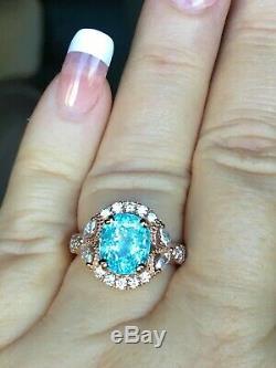 18k Yellow Gold 5.25 Ct Certified Gia VIVID Neon Paraiba Tourmaline Diamond Ring