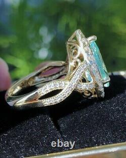 18k Yellow Gold 5.54 Ct. Certified Gia Blue Paraiba Tourmaline Diamond Ring